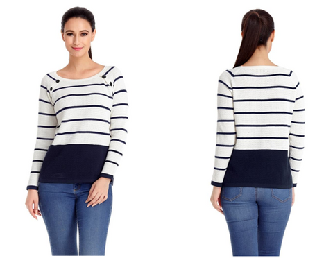 Navy and White Front Buttons Textured Striped Sweater | Lookbook Store