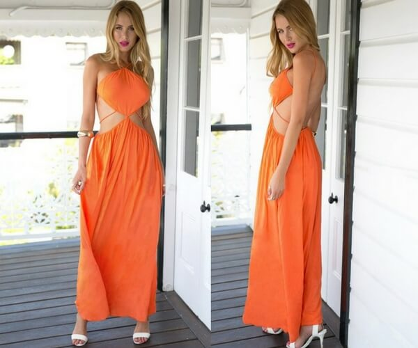 Orange Open Back Maxi Dress