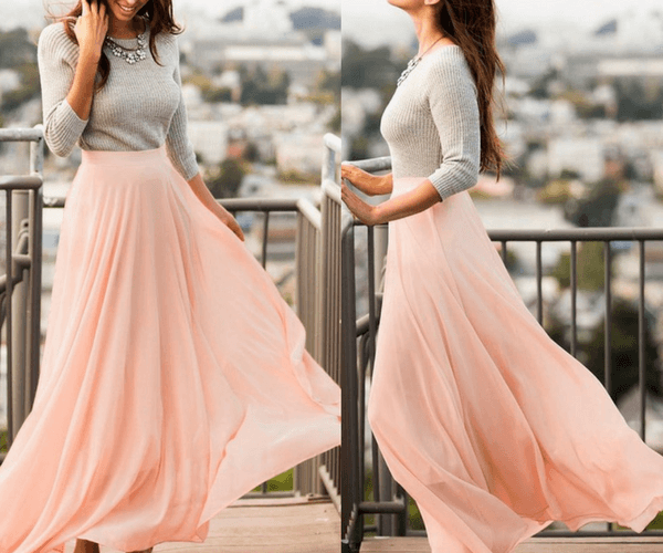 Pink Chiffon Maxi Skirt | Lookbook Store