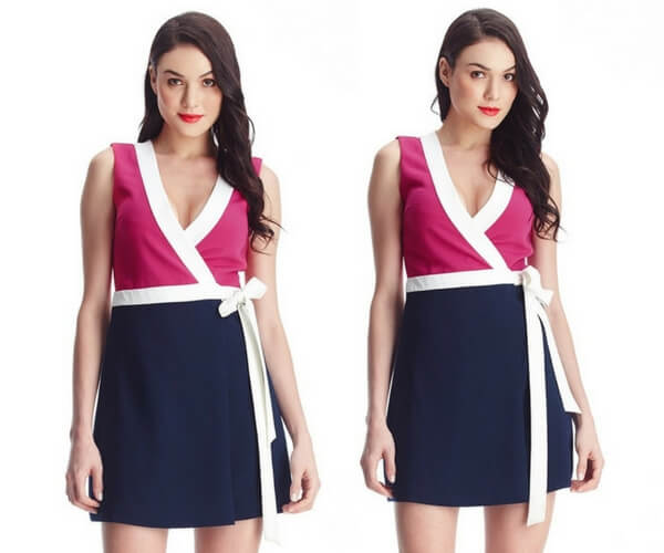 Pink and Navy Sleeveless Wrap-Style Dress
