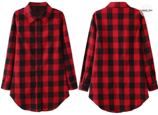 Plaid Flannel Tunic Shirt | Lookbook Store