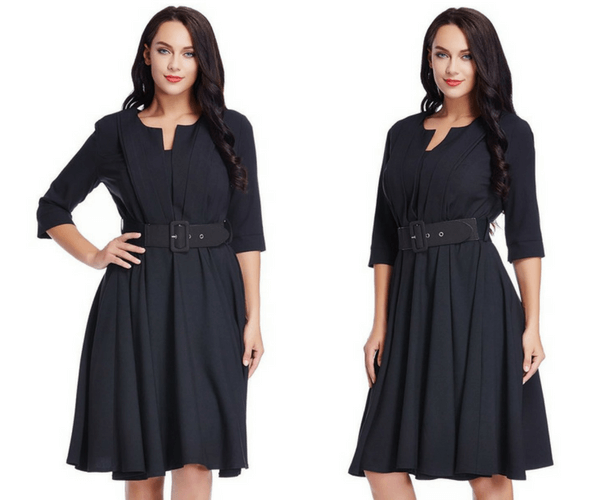Plus Size Black Belted Skater Dress | Lookbook Store