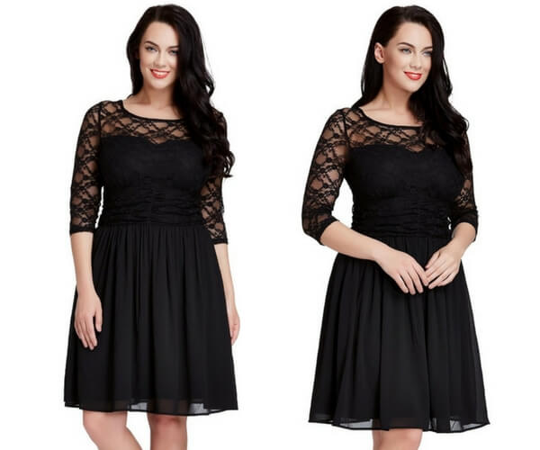 Plus Size Black Lace Crop-Sleeves Skater Dress