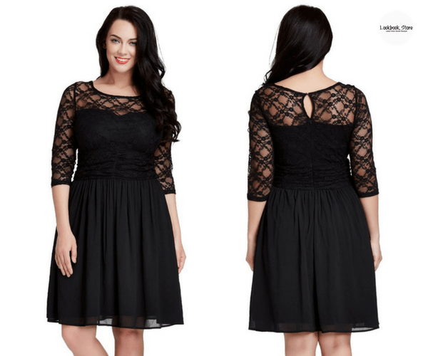 Plus Size Black Lace Crop-Sleeves Skater Dress | Lookbook Store