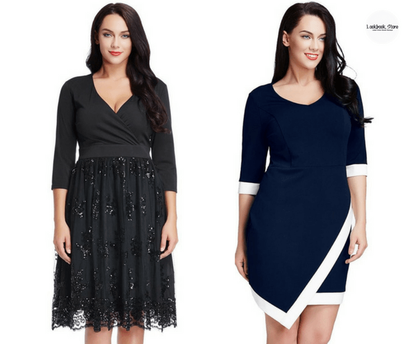 Plus Size Black Mesh Bottom Surplice Dress and Plus Size Navy Asymmetric Wrap Bodycon Dress- Lookbook Store