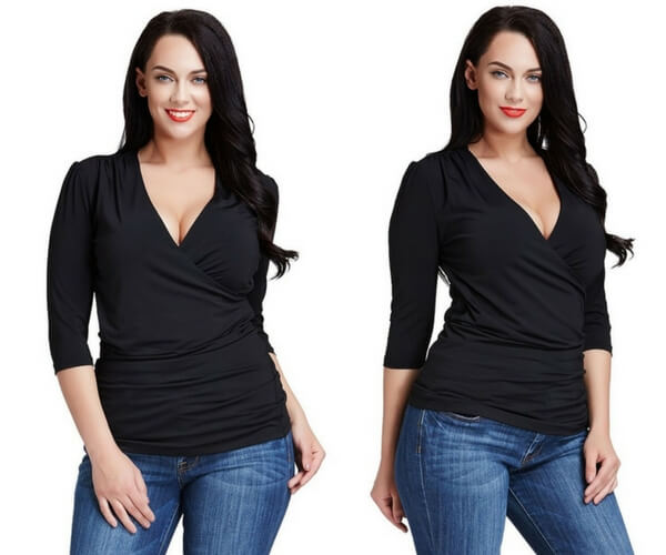 Plus Size Black Ruched Surplice Top