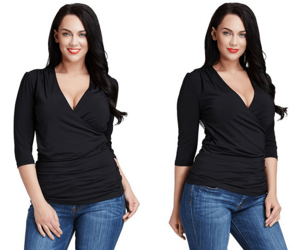 Plus Size Black Ruched Surplice Top | Lookbook Store
