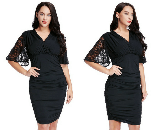 Plus Size Black Runching Bodycon Dress | Lookbook Store