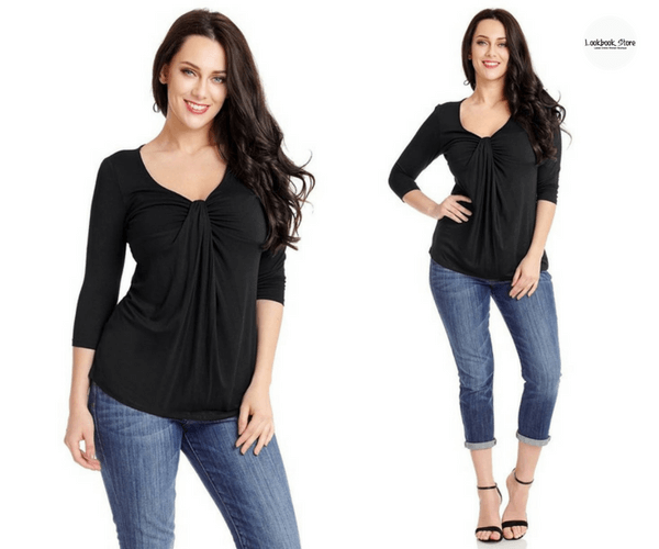 Plus Size Black V Neckline Twist Knot-Front Top