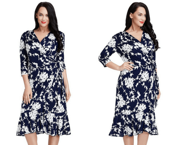 Plus Size Blue Floral Ruffled Wrap Dress | Lookbook Store