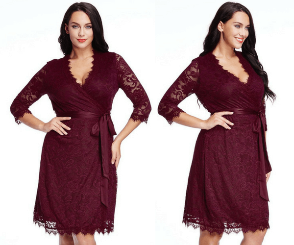 Plus Size Burgundy Lace Crop Sleeves Wrap Dress | Lookbook Store
