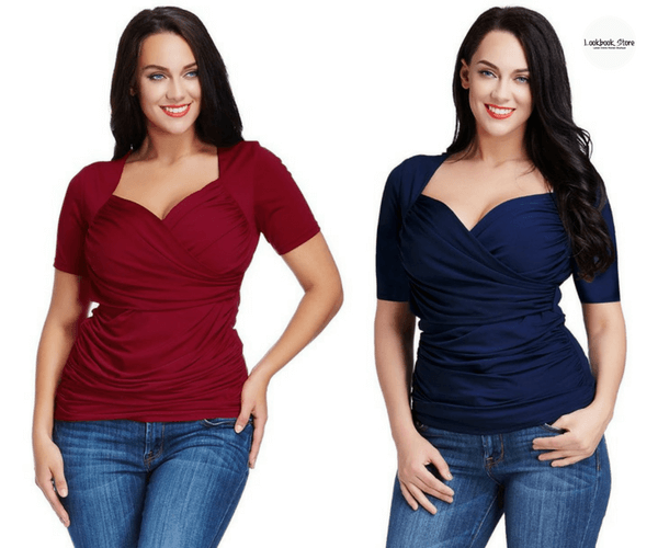 Plus Size Burgundy Ruched Surplice Top and Plus Size Navy Blue Ruched Surplice Top - Lookbook Store