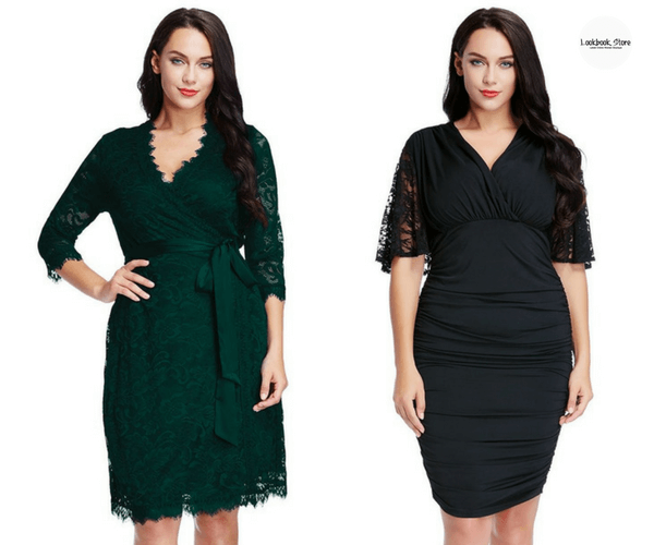 Plus Size Deep Green Lace Crop Sleeves Wrap Dress and Plus Size Black Runching Bodycon Dress - Lookbook Store