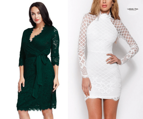 Plus Size Deep Green Lace Crop Sleeves Wrap Dress and White Diamond Lace Dress | Lookbook Store