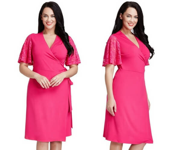 Plus Size Hot Pink Plunge Wrap-Style Dress