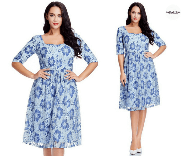 Plus Size Light Blue Floral-Print Lace Dress - Lookbook Store