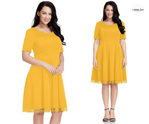 Plus Size Mustard Yellow Short-Sleeves Skater Dress - Lookbook Store