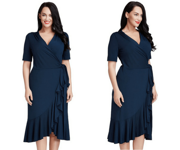 Plus Size Navy Blue Asymmetrical Ruffled Wrap Dress | Lookbook Store