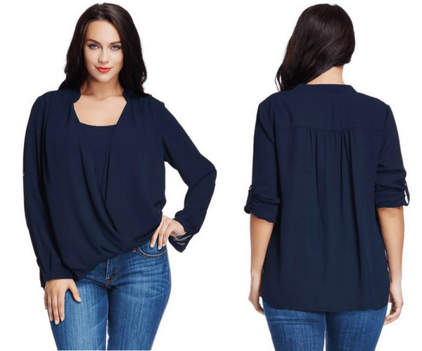 Plus Size Navy Blue Mandarin Collar Surplice Shirt | Lookbook Store