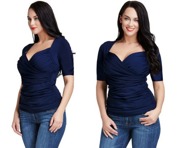 Plus Size Navy Blue Ruched Surplice Top