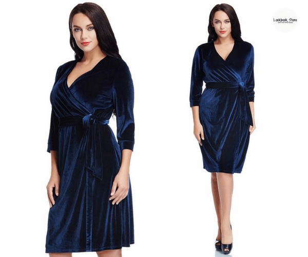 Plus Size Navy Blue Velvet Wrap Dress - Lookbook Store