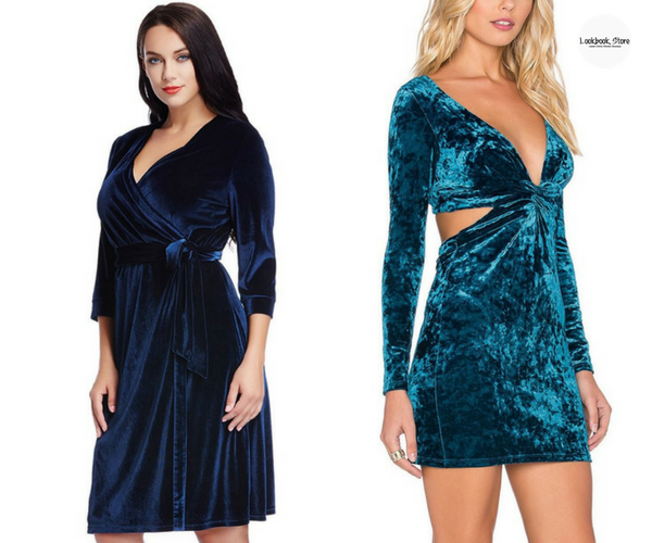 Plus Size Navy Blue Velvet Wrap Dress and Blue Velvet Knotted Cutout Dress | Lookbook Store