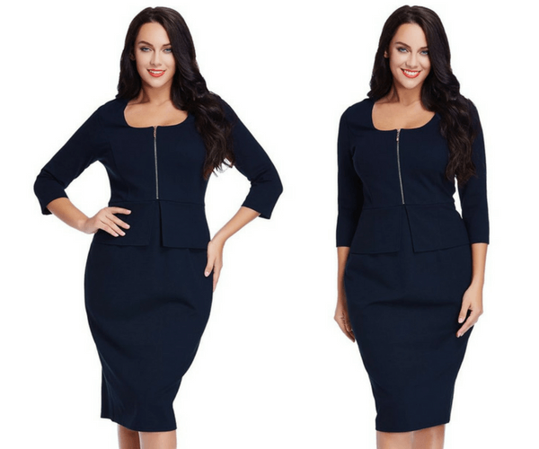 Plus Size Navy Blue Zip-Up Pencil Dress | Lookbook Store