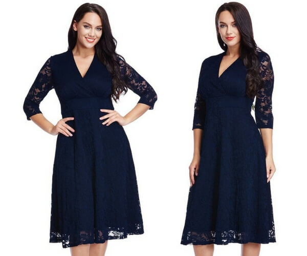 Plus Size Navy Lace Surplice Midi Dress