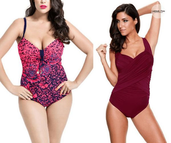 Plus Size Pink Printed Swimsuit and Bordeaux Crossover Ruched Swimsuit | Lookbook Store