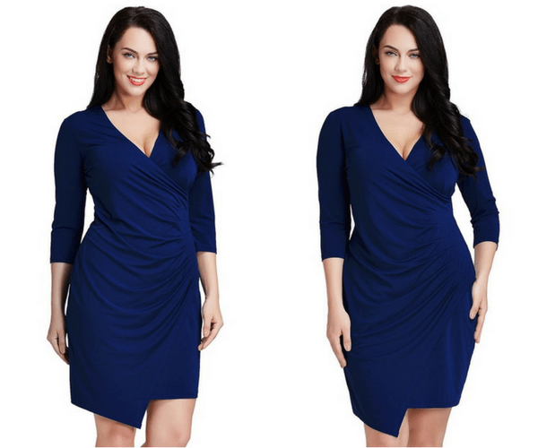 Plus Size Royal Blue Asymmetrical Wrap-Style Dress | Lookbook Store