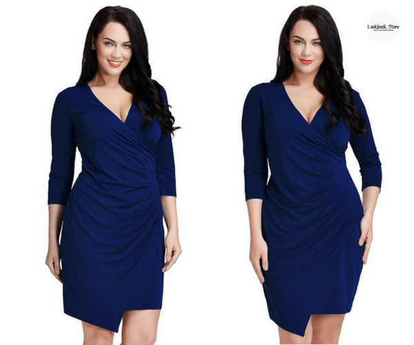 Plus Size Royal Blue Asymmetrical Wrap-Style Dress - Lookbook Store