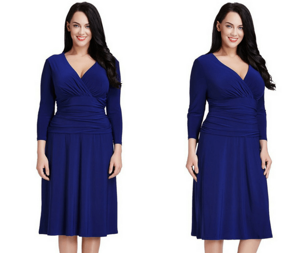 Plus Size Royal Blue Ruched Waist Dress | Lookbook Store