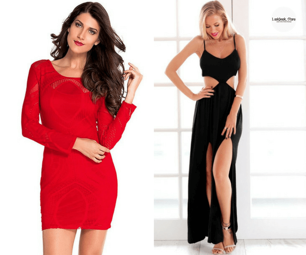 Red Lace Illusion Long Sleeves Dress and Black Side-Cutout Maxi Dress | Lookbook Store