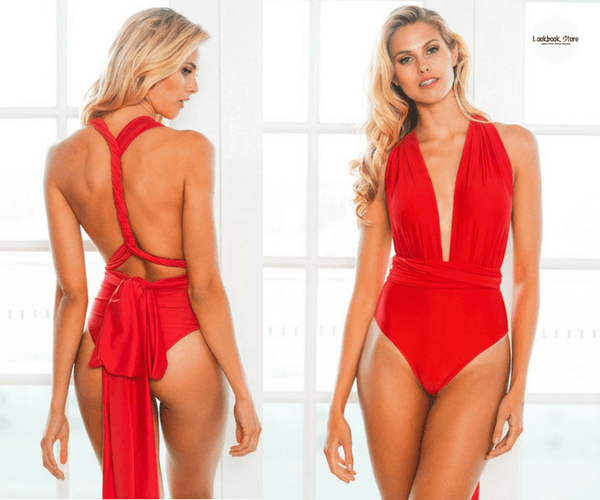 Red Multiway Swimsuit | Lookbook Store