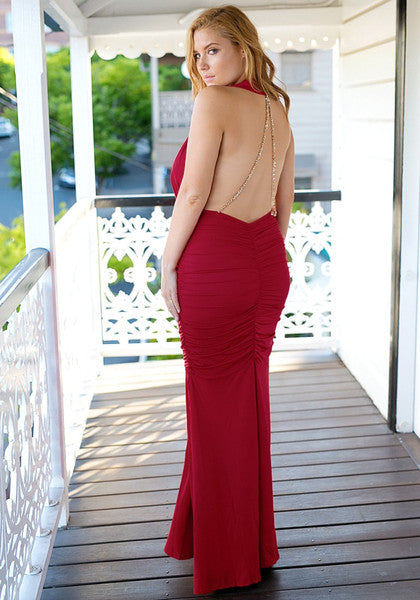 Red Ruched Mermaid Gown