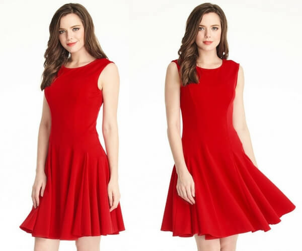 Red Sleeveless Skater Dress