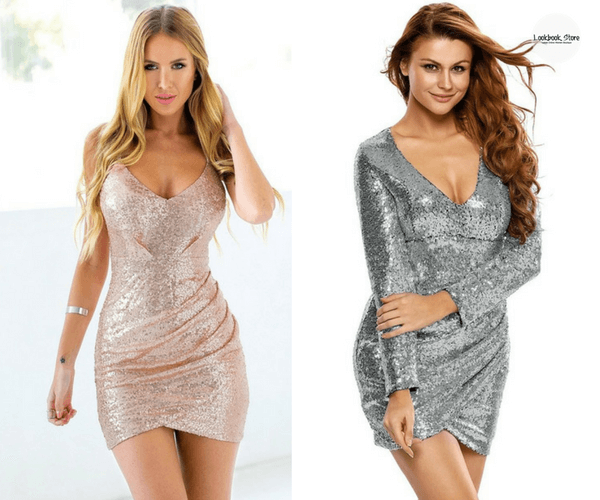 Rose Gold Sequin Cocktail Slip Dress and Silver Plunge-Neck Sequin Dress | Lookbook Store