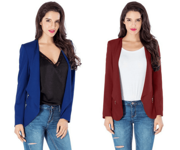 Royal Blue Draped Blazer and Burgundy Draped Blazer | Lookbook Store