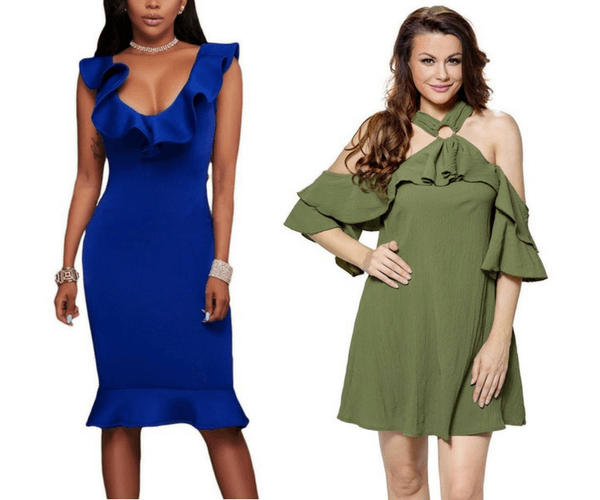 Royal Blue Mermaid-Hem Ruffled Bodycon Dress and Olive Green O-Ring Ruffled Cold-Shoulder Halter Dress | Lookbook Store