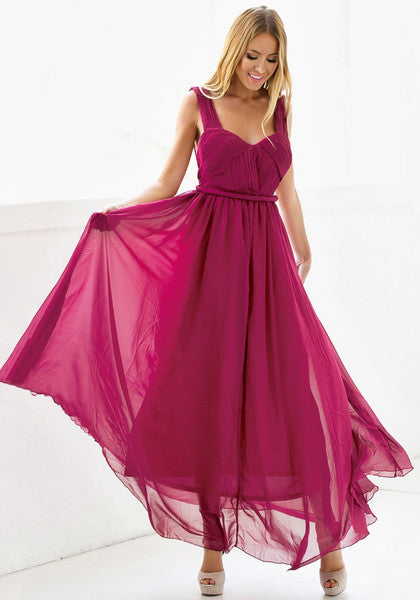 Ruched Burgundy A-Line Gown