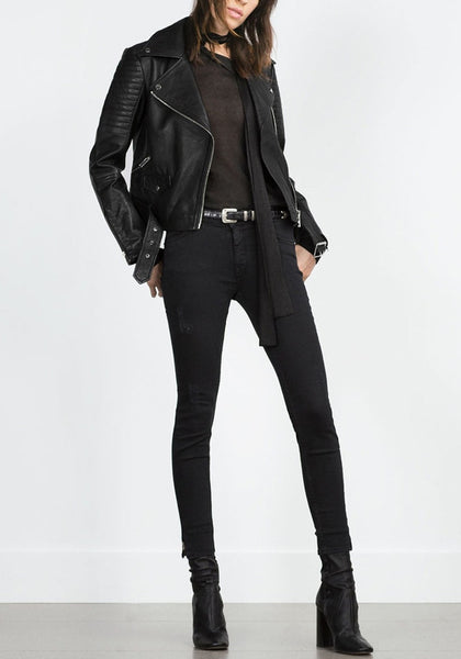 Side view of black oblique zip PU jacket