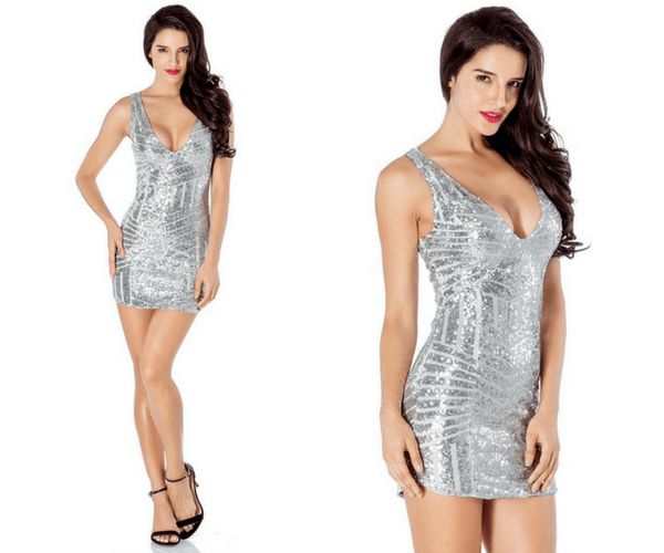 Silver Sequin Party Dress | Lookbook Store