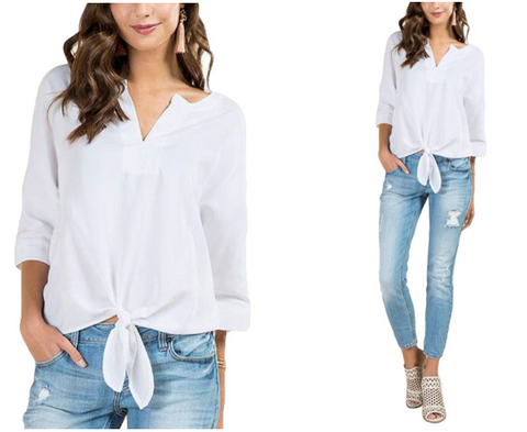 White V-Neck 3/4 Sleeves Knot Tie-Front Blouse | Lookbook Store