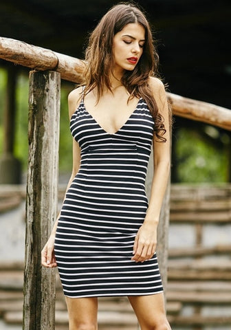 Striped V-Neck Slip Dress