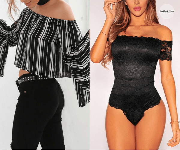 Striped Bell Sleeves Off-Shoulder Crop Top and Black Lace Off-Shoulder Bodysuit | Lookbook Store