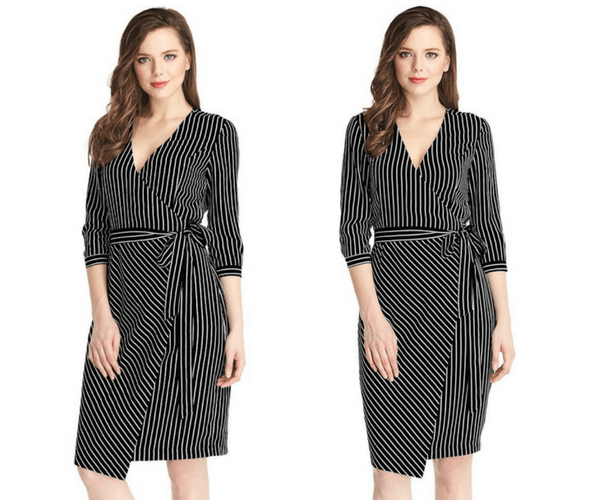 Striped Plunge Asymmetrical Belted Wrap-Style Dress | Lookbook Store