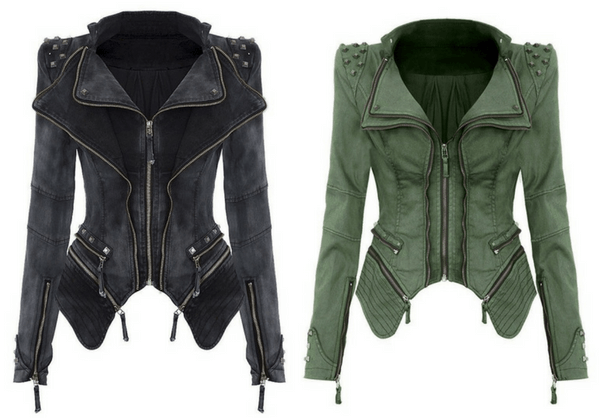 Studded Shoulder Denim Blazer - Grey and Studded Shoulder Denim Blazer - Green | Lookbook Store