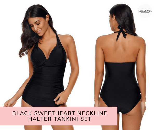 04f58d78c3c Black Sweetheart Neckline Halter Tankini Set | Lookbook Store ...