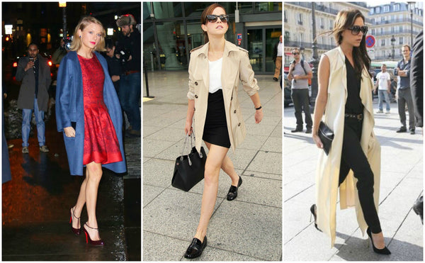 Female celebrities in trench coats