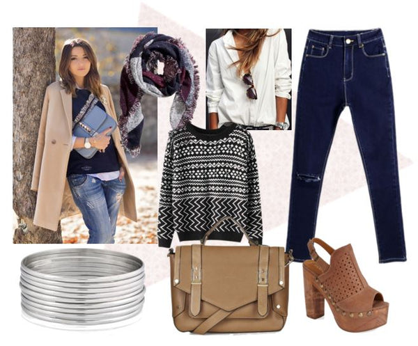 outfit set with white tee, blue jeans and knitted sweater